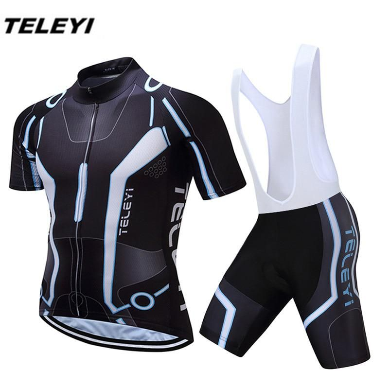 New TELEYI Black Bike Jersey bib shorts set Men Cycling Clothing bicycle  Top Suit Ropa Ciclismo 10137ff60