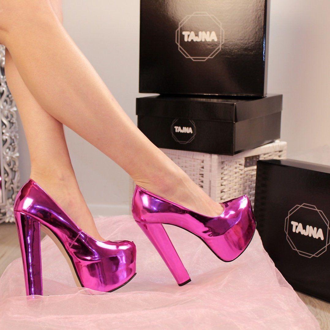 Fushia Pink Chunky Heel Platform Shoes | Pink chunky heels ...