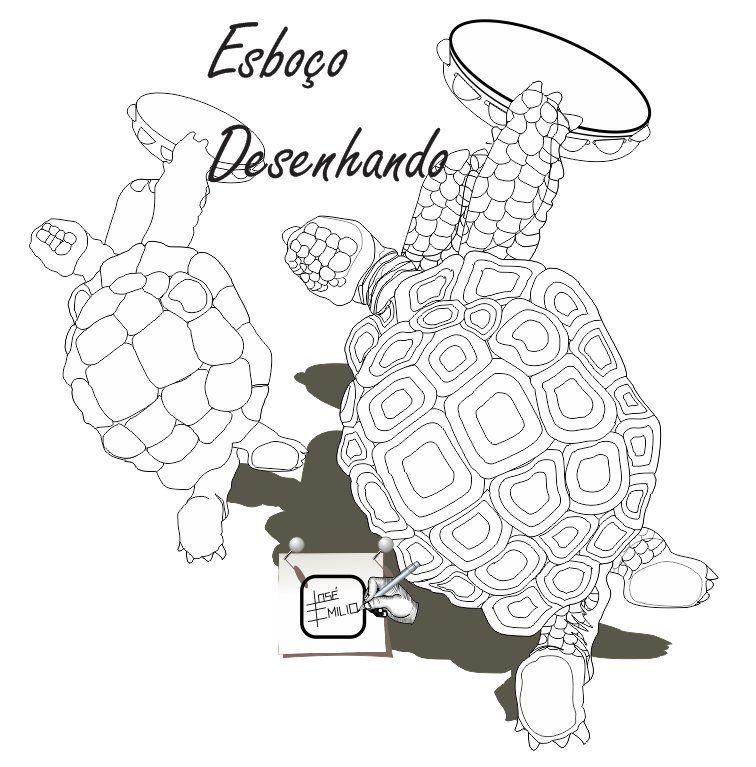 TARTARUGA DESENHANDO Outra tartaruga com um pandeiro, num movimento de algum ritmo. Desenho - Ilustração - Illustration - Drawing http://arterocha.blogspot.com.br