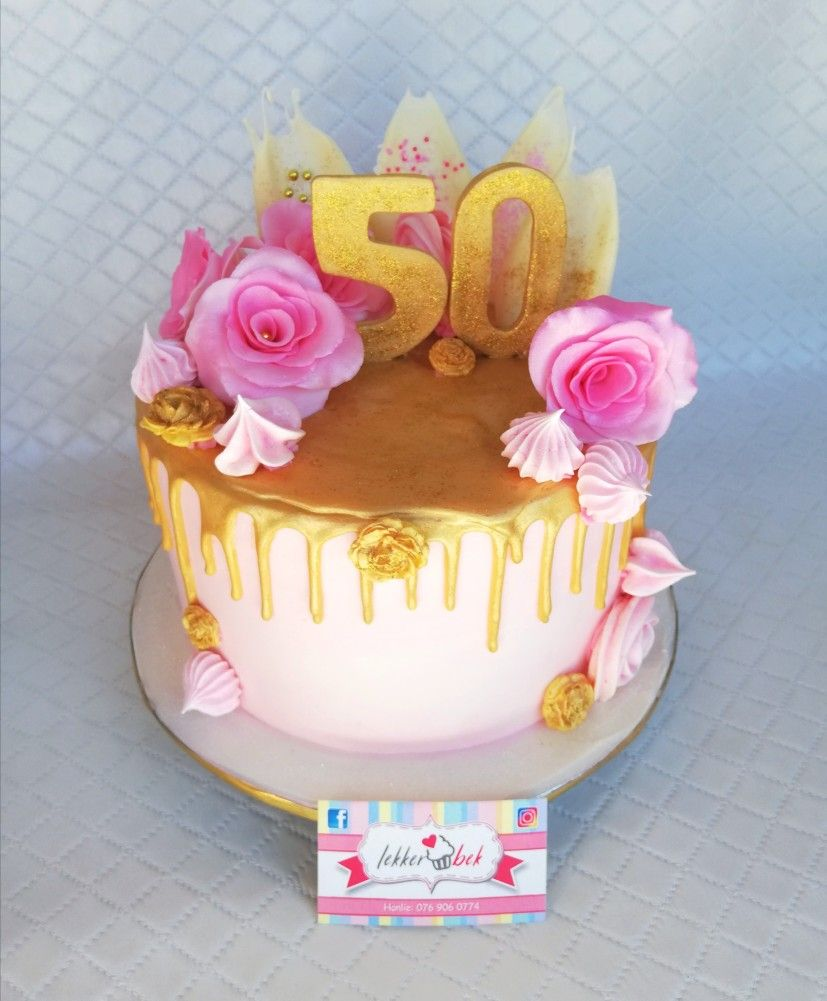 Pink And Gold Loaded Drip Cake 59th Birthday With Images Drip