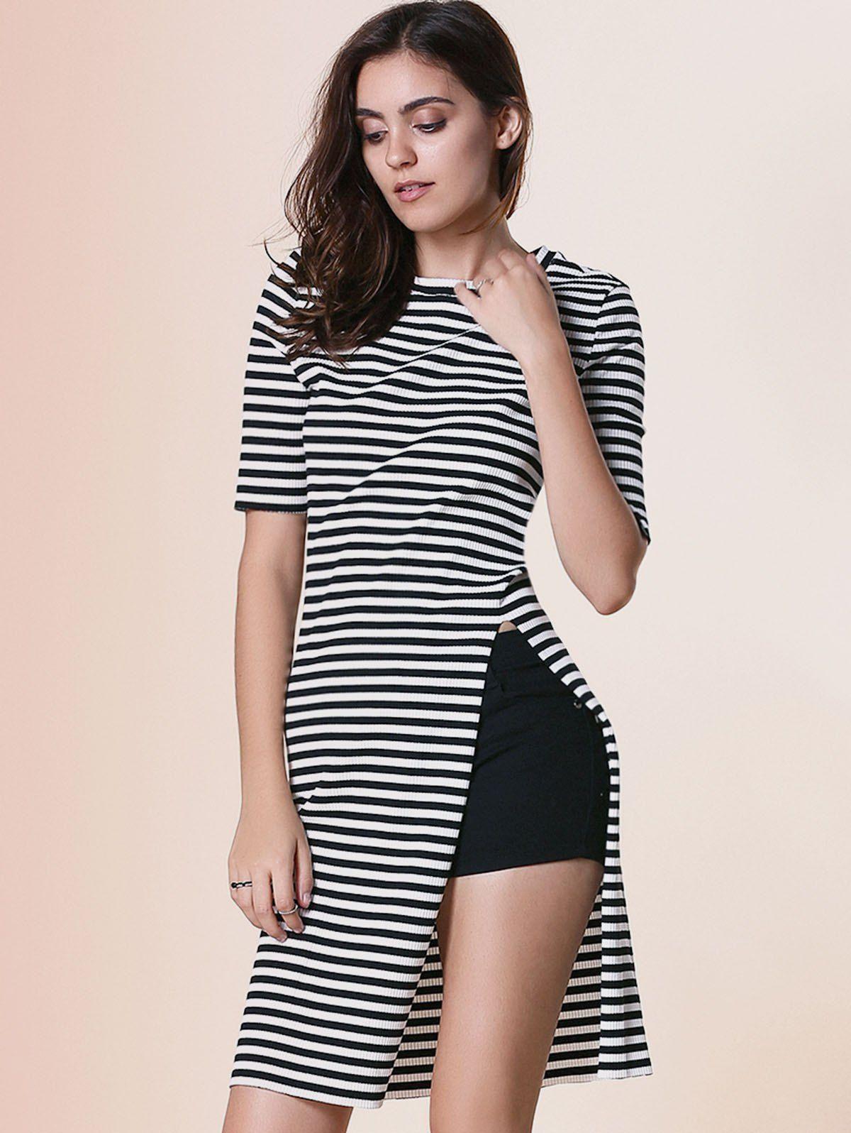 fdc88b1a65 Women s Stylish Round Neck Short Sleeve Striped Furcal Dress ...