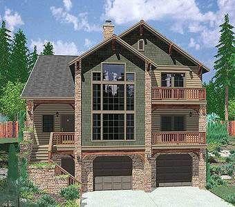 Plan 8189lb Hillside Retreat Craftsman House Plans Sloping Lot House Plan Narrow Lot House Plans