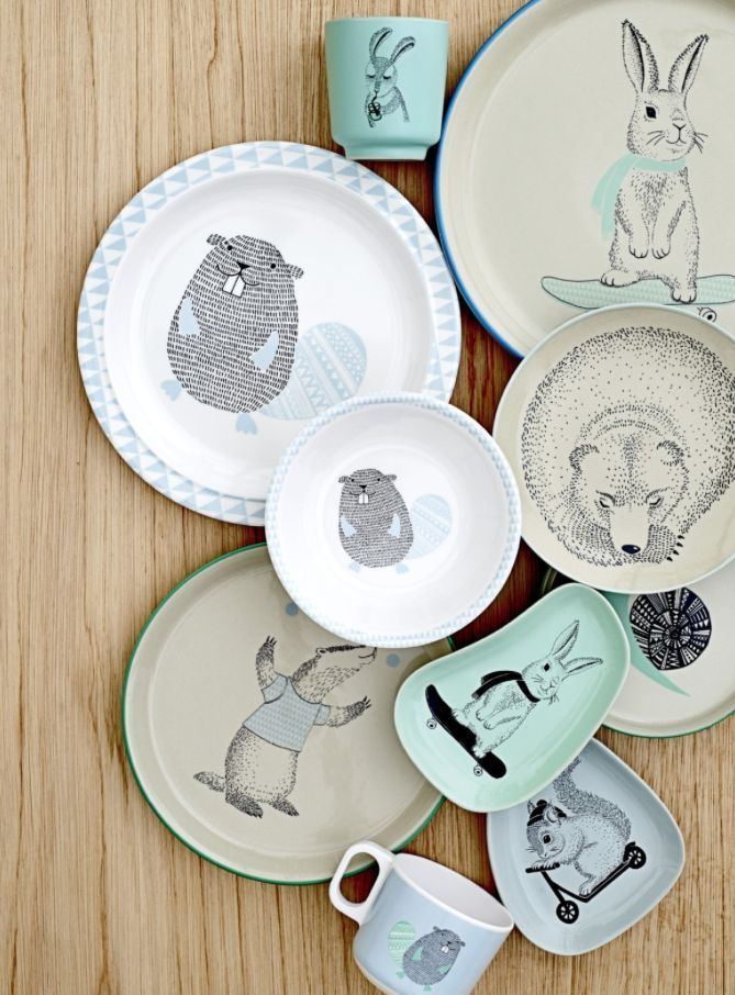 The Marius Noah And Adelynn Tableware From Bloomingville Mini Hand Painted Plates Diy Pottery Rustic Ceramics