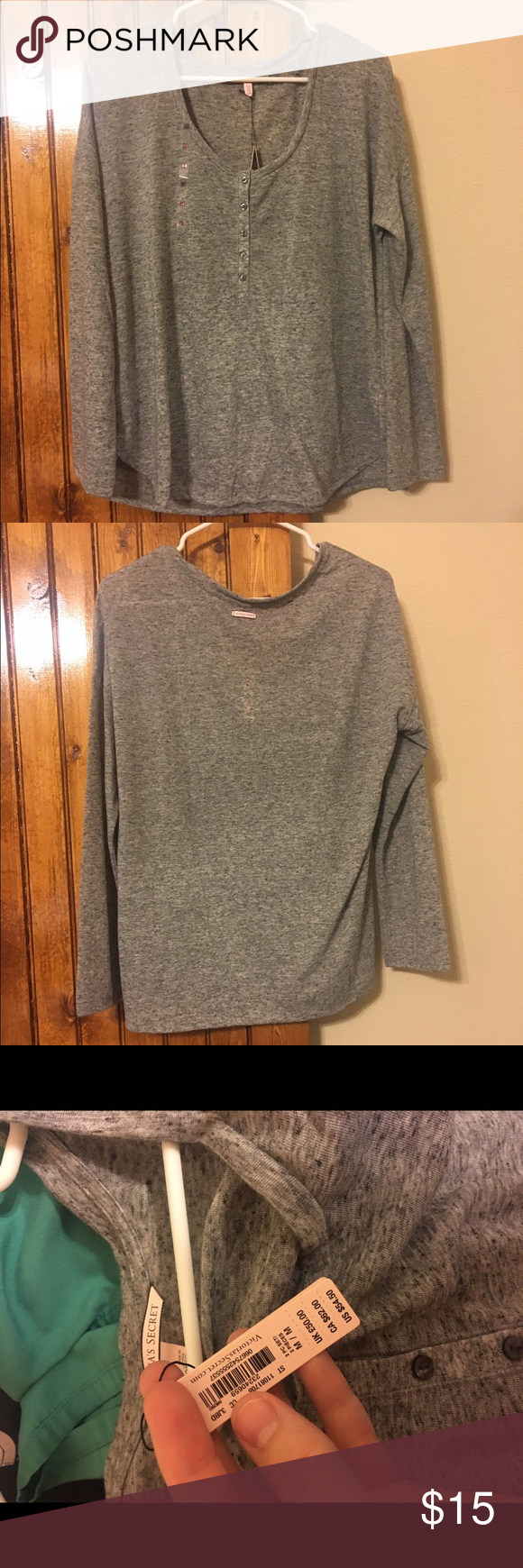 Victoria's Secret PJ top, M Have this top already and love it. TOP only.  NWT! Only selling because I don't need two tops that are the exact same, otherwise LOVE. Victoria's Secret Tops Tees - Long Sleeve