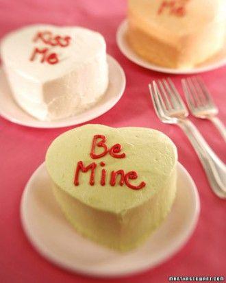 Mini Heart-Shaped Cakes  Valentine's Day Dessert Recipes from #MarthaStewart | #BeMine