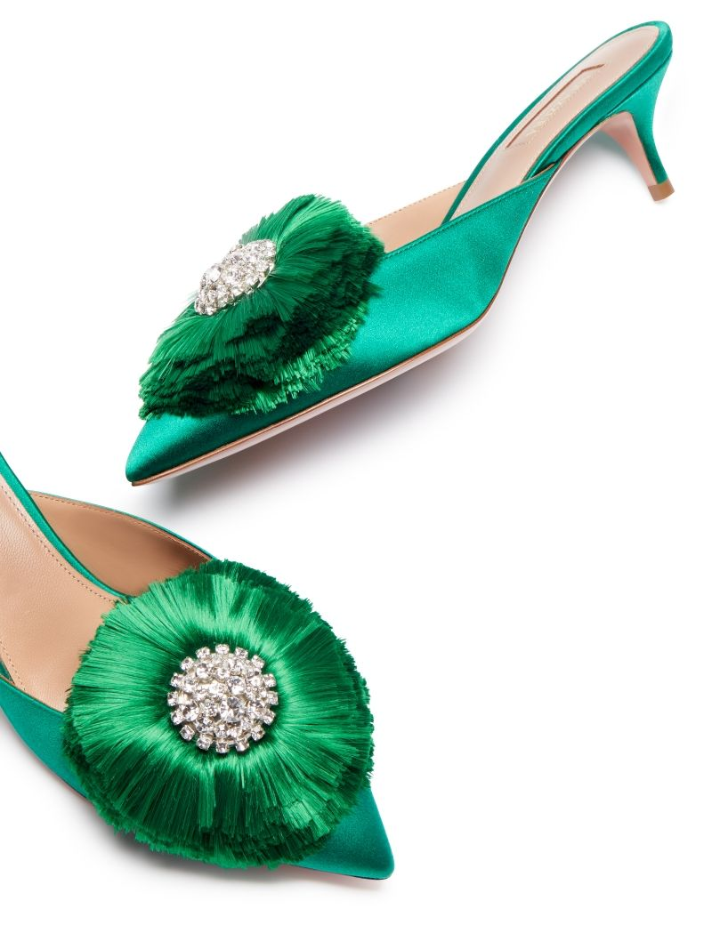 a39202b5d4 AQUAZZURA - Crystal Lotus Mule 45 - EMERALD GREEN - SATIN | Shoes in ...