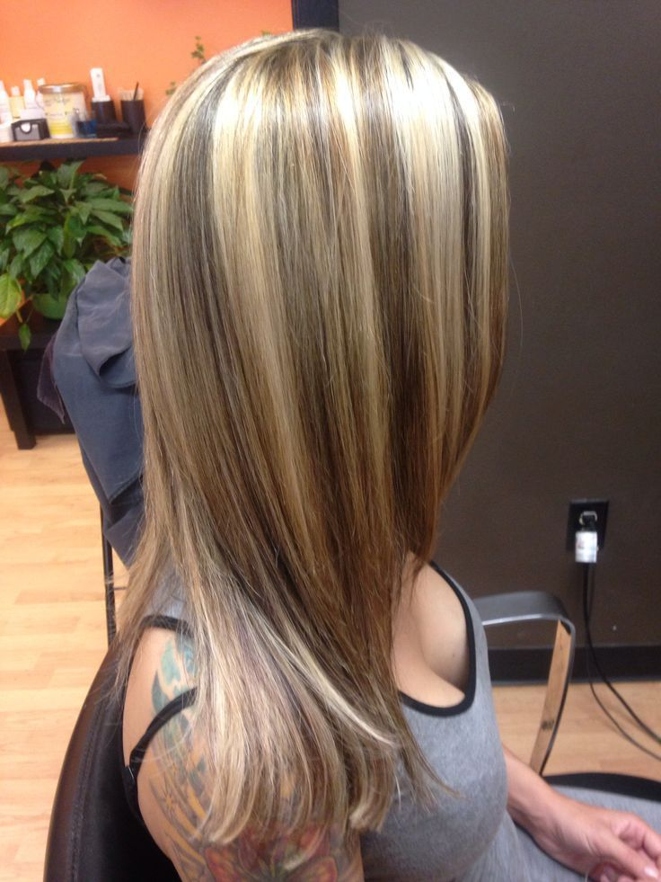 Dark Brown Hair With Chunky Blonde Highlights Brown