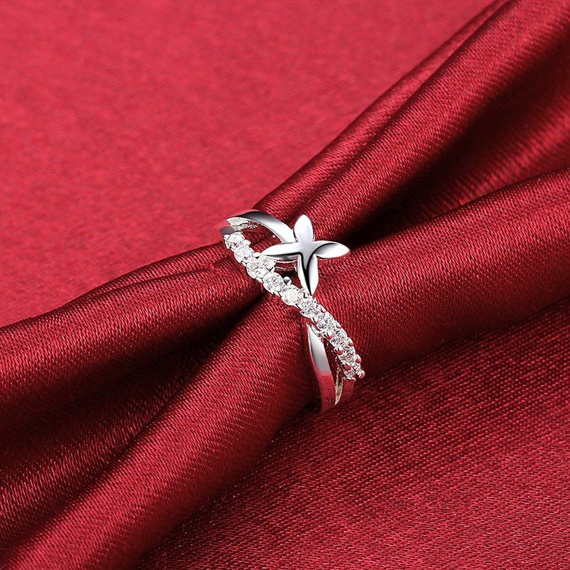 Trendy Silver Plated Plant Cubic Zirconia Ring for Women SPR952 2