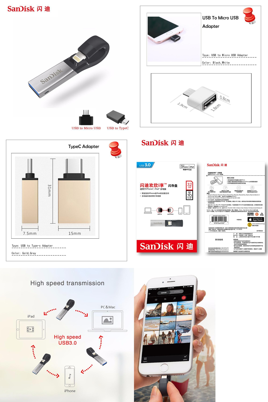 Visit To Buy Sandisk Usb 30 Flash Drive Sdix30n 256gb 128gb 64gb Flashdisk Otg 32gb 16gb