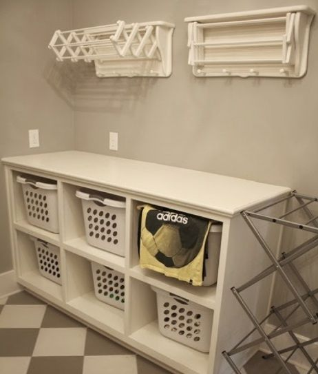 Attrayant Wall Shelves And Cabinet With Door From Ikea As Laundry Room .