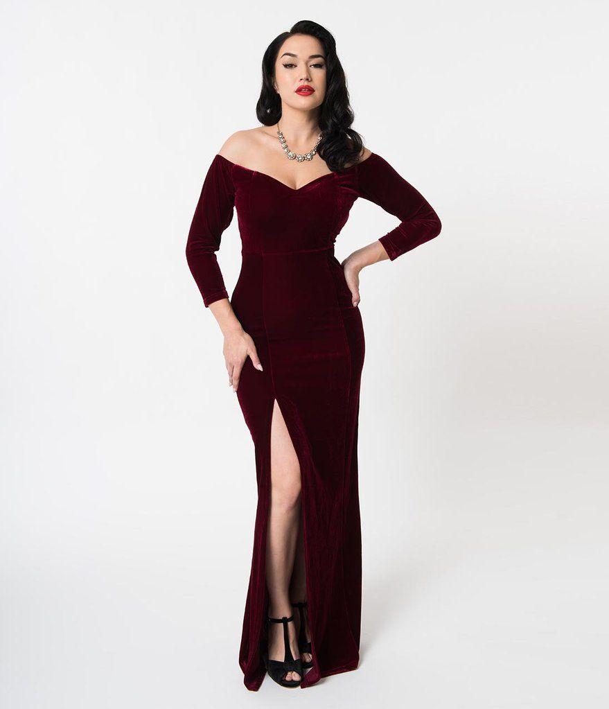 c565c913038 Collectif Wine Red Velvet Off Shoulder Sleeved Anjelica Maxi Dress ...