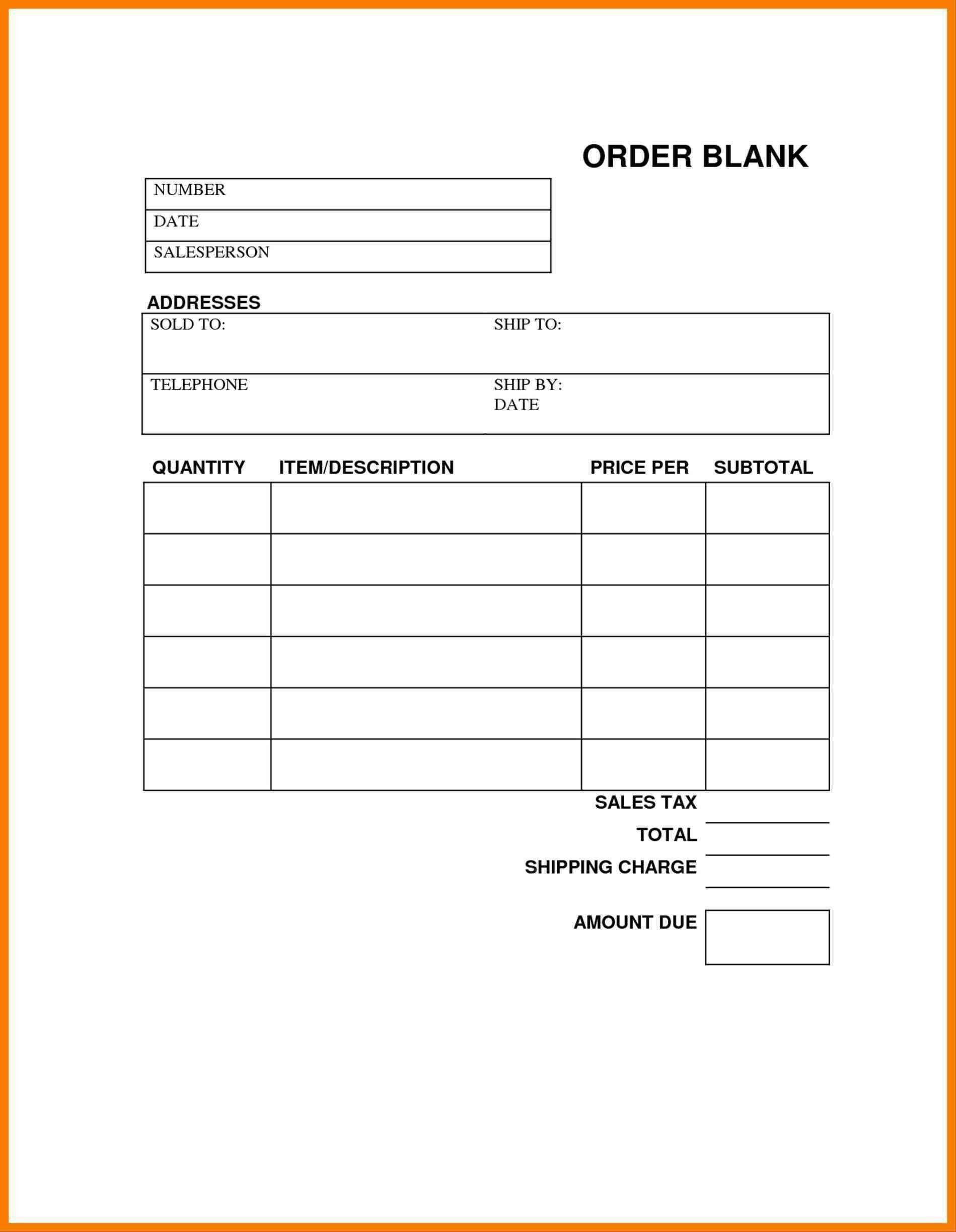 Unique Online Receipt Template Order Form Template Free Order