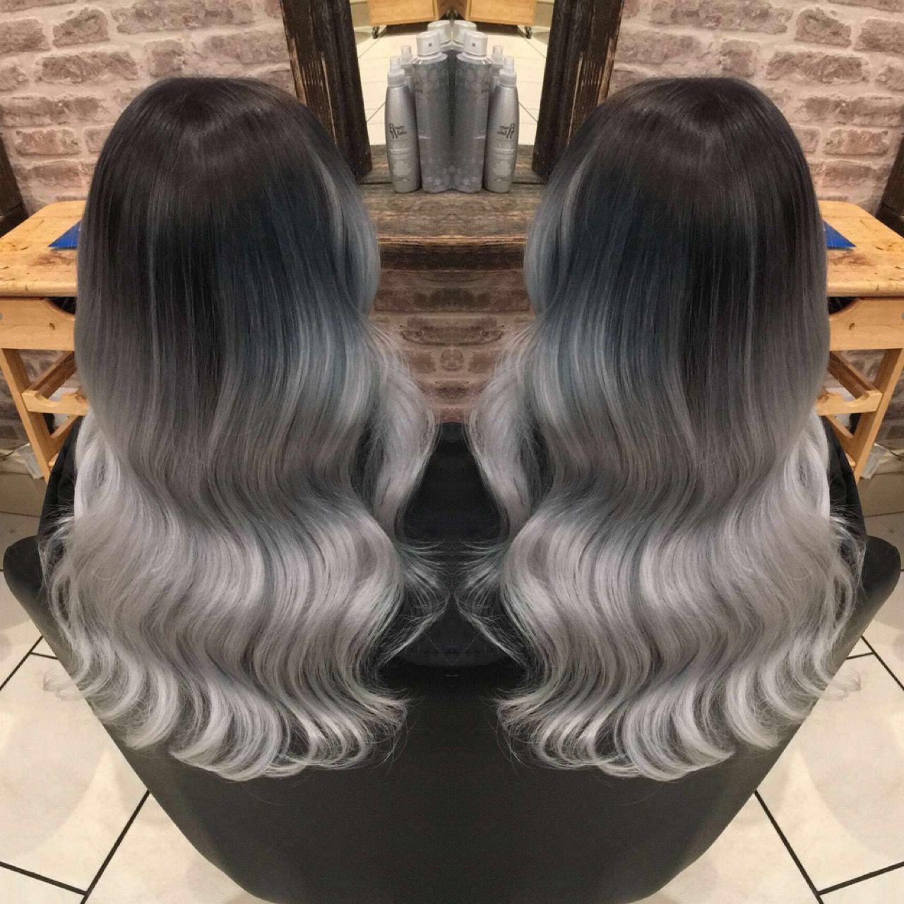 bright pastel coloured hair grey