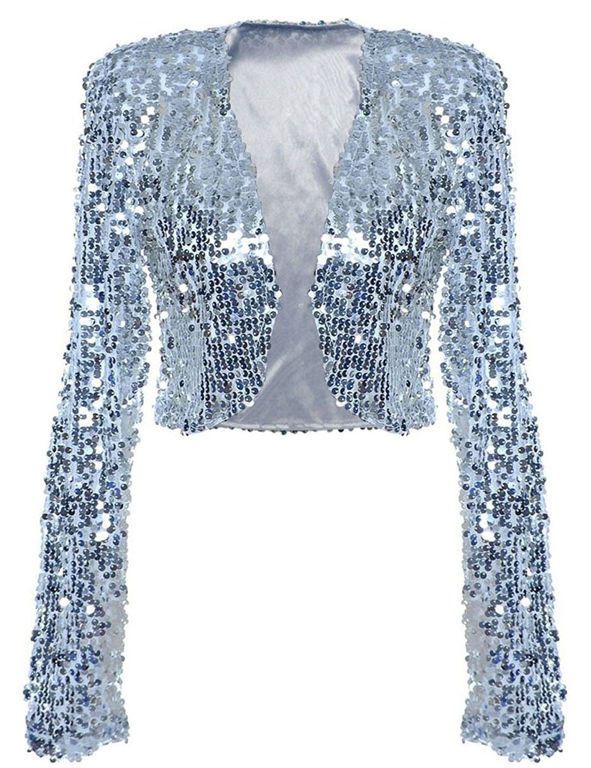 c095ff1865bb Buy Women Sequin Jacket Long Sleeve Sparkly Cropped Shrug Clubwear - Silver  - C9189SHW8C5 and shop more latest Women's Jackets all over the world.