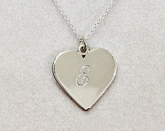 Sterling Silver Heart Necklace with Engraved Initial - Bridesmaids