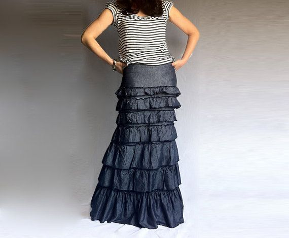 This is so cute!!!! Denim Layered Ruffle Long Skirt Blue Cotton by ...