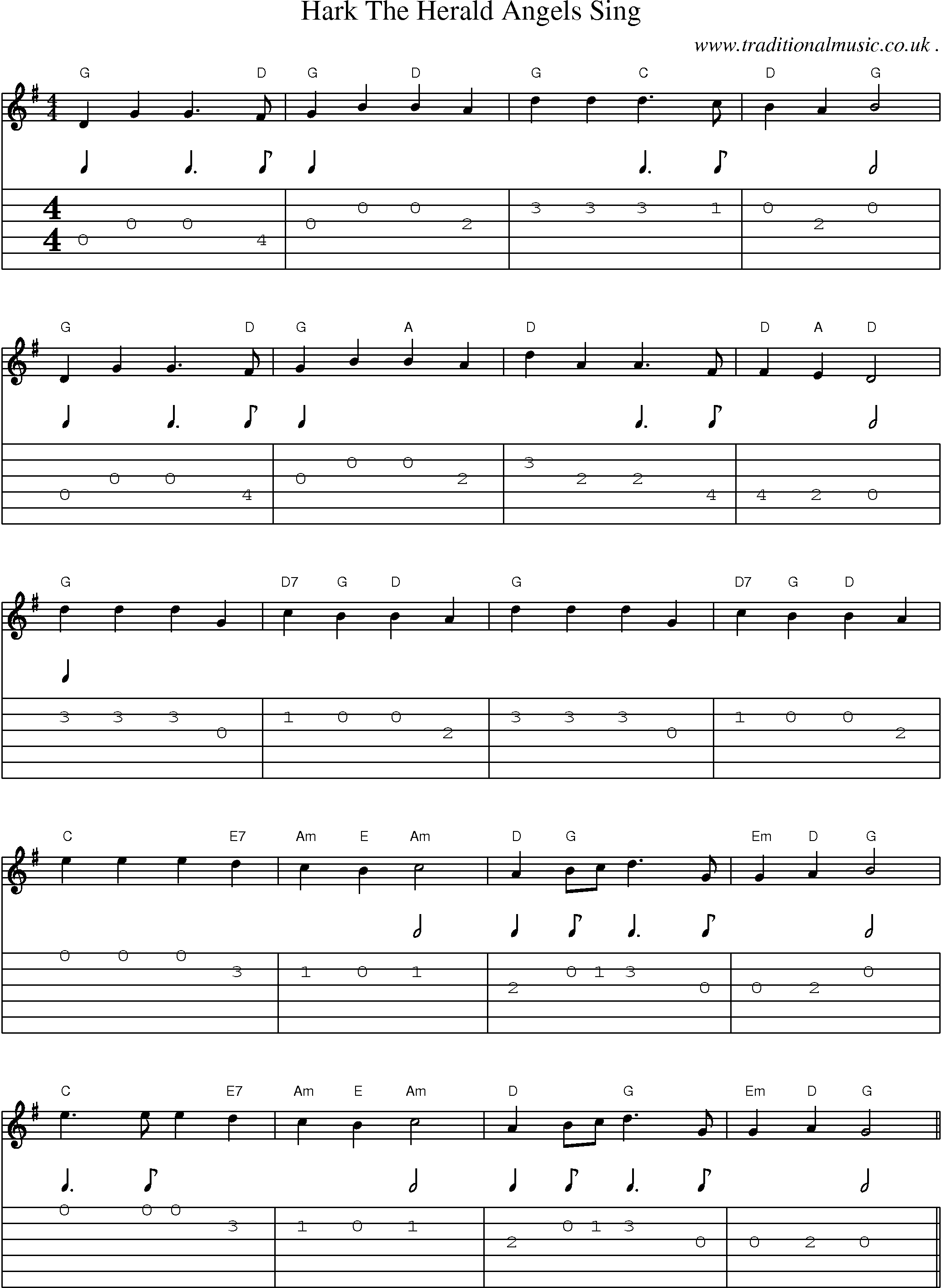 Music Score And Guitar Tabs For Hark The Herald Angels Sing Sheet