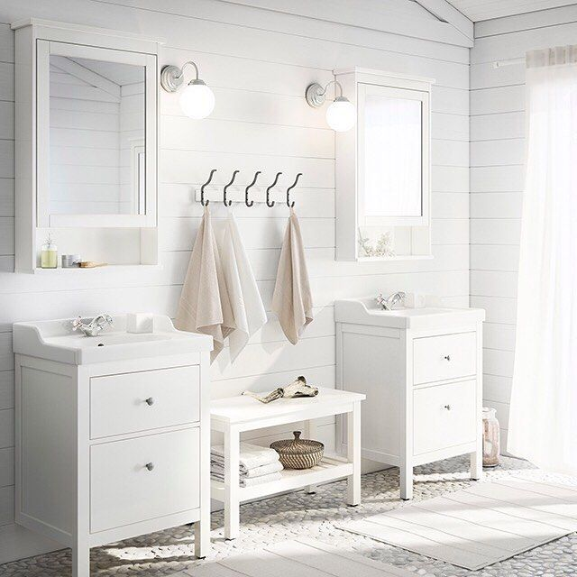 treat your bathroom to a complete transformation white hemnes bath furniture neutral linens - Bathroom Cabinets 2014