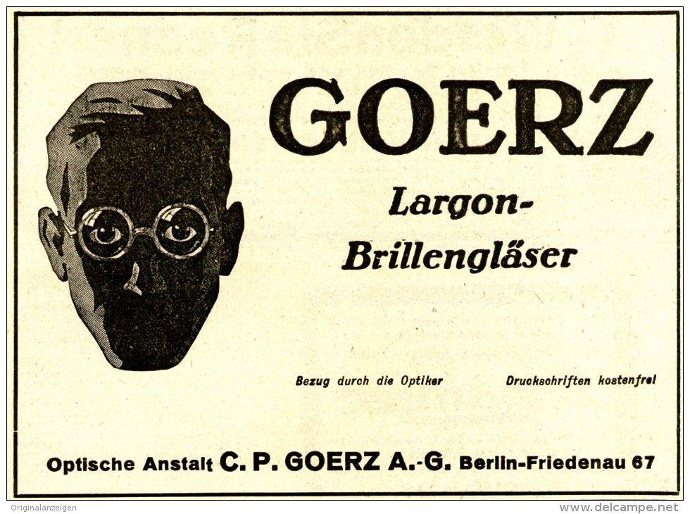 Original-Werbung/ Anzeige 1922 - GOERZ LARGON BRILLENGLÄSER - 140 x 100  mm