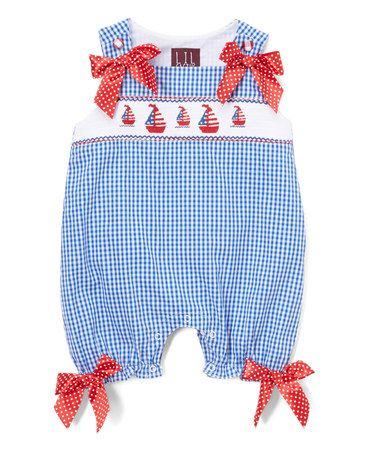 3a081a47f This Blue & Red Sailboat Smocked Bubble Romper - Infant & Toddler by Lil  Cactus is perfect! #zulilyfinds