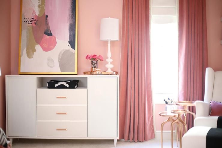 Luxurious Pink Nursery Features Pink Velvet Curtains Hung In Front