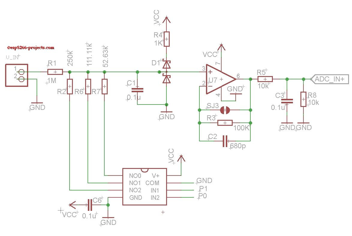 Autorange Analog Front End Esp8266 Extension Board Auto Voltage Divider Circuit Explained Electronic Projects Ranging Alternative To Setting Up Dividers Between Sensor And Adc