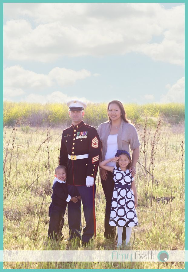 Military family dad in dress blues in open field amy bell photography