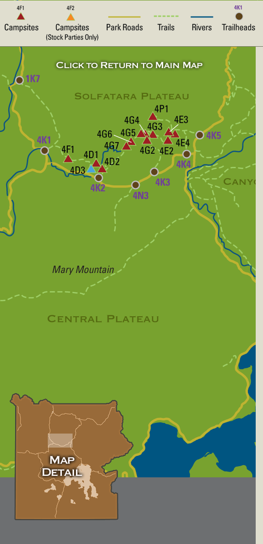 Map showing backcountry campsites in the Solfatara Plateau region of on yellowstone fishing map, yellowstone canyon map, yellowstone river map, yellowstone trail map, yellowstone grand teton national park, yellowstone altitude map, yellowstone lodging map, yellowstone mountains map, yellowstone park map, yellowstone skiing map, yellowstone map usa, yellowstone travel map, detailed yellowstone map, yellowstone wildlife map, jackson hole mountain resort map, yellowstone wolves map, yellowstone campsite map, yellowstone loop map, yellowstone club map, yellowstone geyser map,