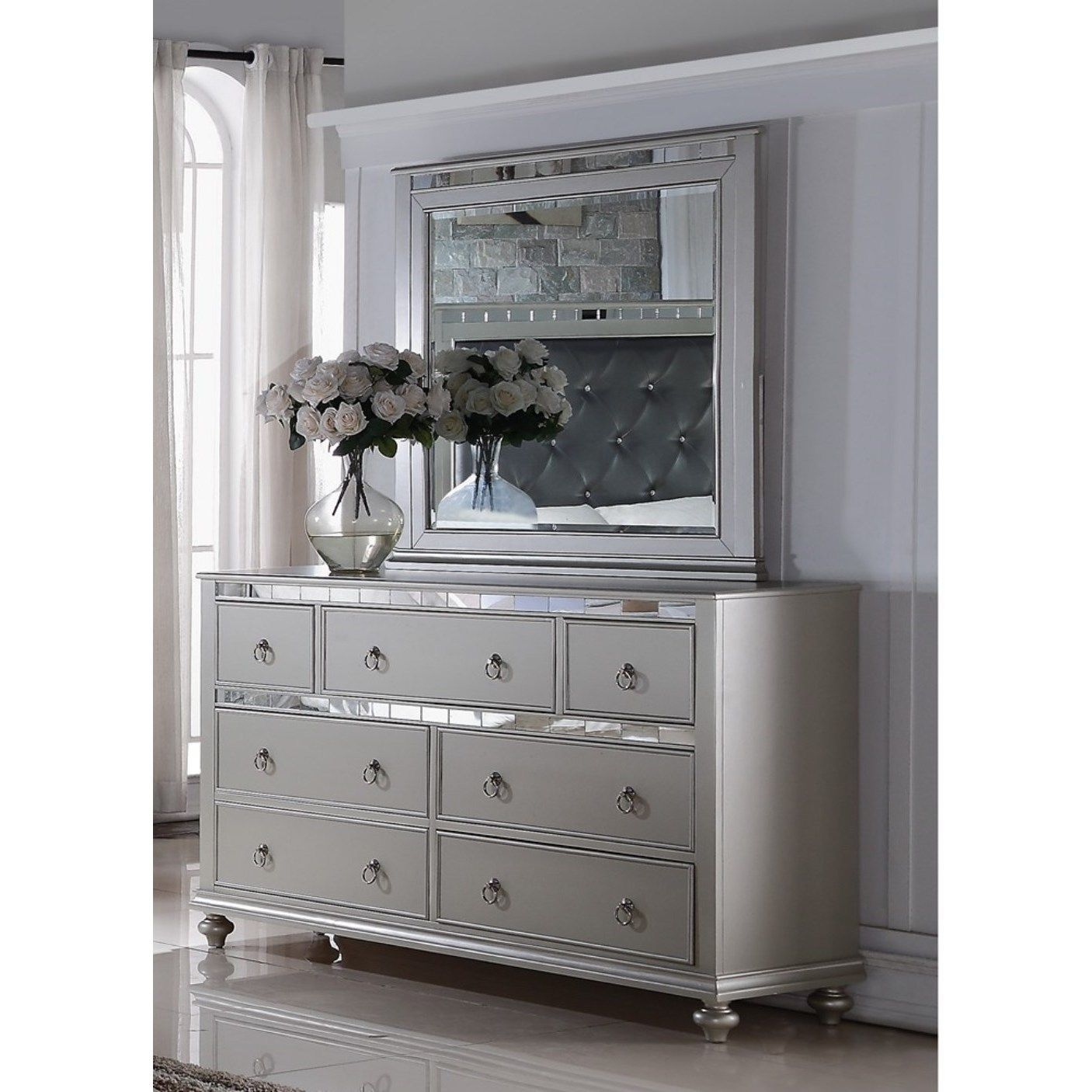 Our best bedroom furniture deals lyke home nevaeh silver dresser mirror combo nevaeh silver dresser mirror combo size 7 drawer