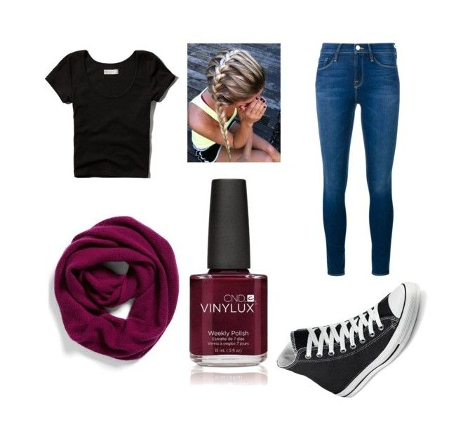 """Black & Maroon ⚫️♦️"" by cutiepanda1661 on Polyvore featuring Abercrombie & Fitch, Halogen, Converse, Frame Denim, Creative, women's clothing, women, female, woman and misses"