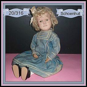SOLD Schoenhut 20/316 Dolly Face Doll Brown Eyes, Orig. Ribbon #dollshopsunited #Schoenhut