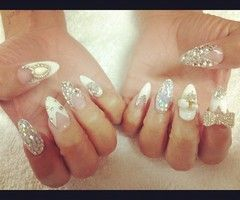 White and Rhinestone Bling Stiletto Nails