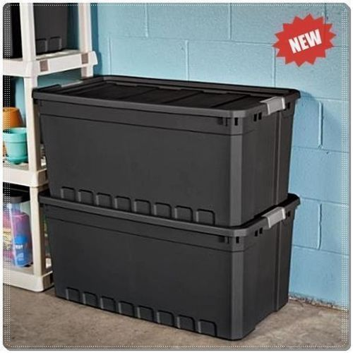 3PC PLASTIC STORAGE CONTAINERS LARGE BOX 50 GALLON STACKING CASE