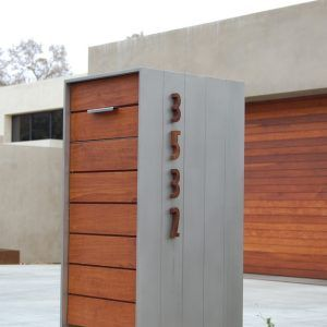 architecture modern mailboxes plus house number and wood siding for contemporary exterior with concrete wall