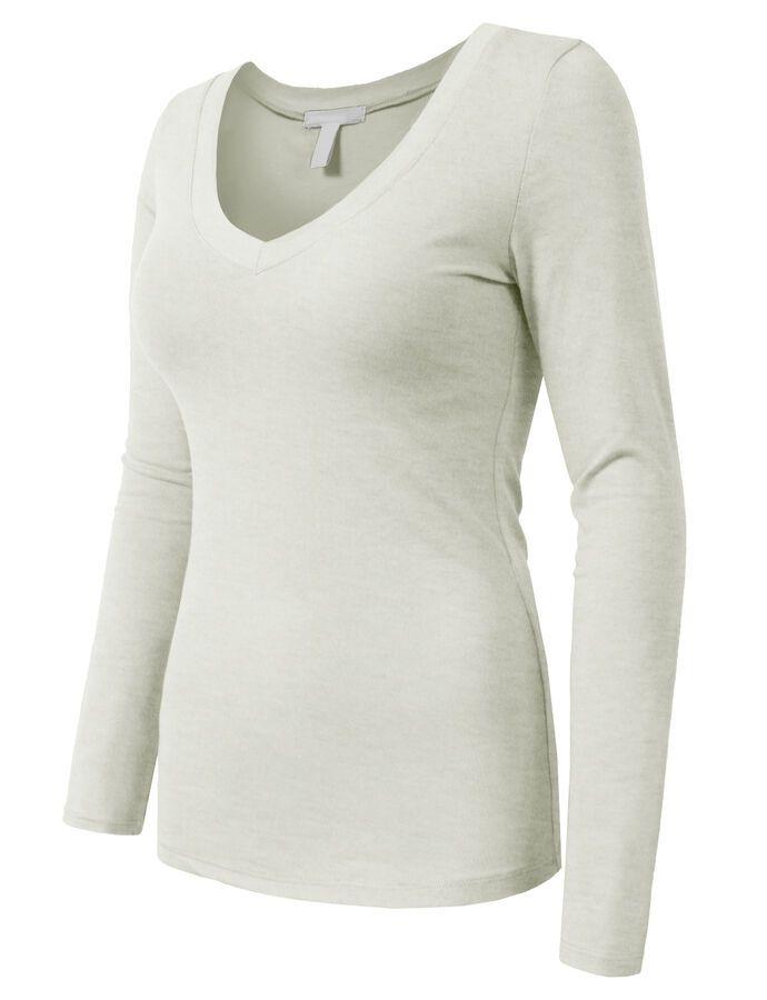 7b6150b1cf1 NE PEOPLE Women Light Weight Basic Long Sleeve V Neck Casual T Shirt NEWT77  Light Weight Basic