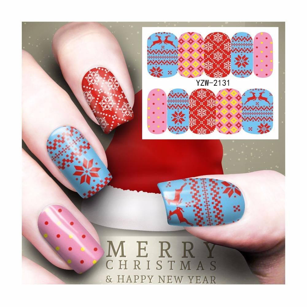 Visit to Buy] FWC Christmas Nail Sticker Water Decals Nail Art Water ...