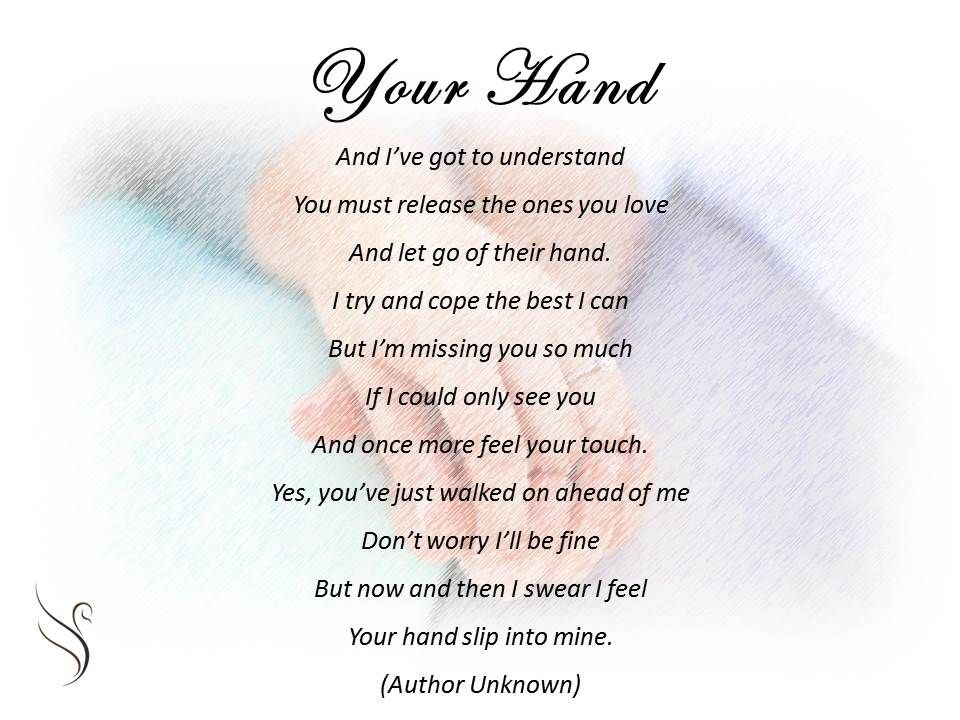 Funeral Poem Your Hand | Poems | Funeral poems, Sympathy poems, Poems