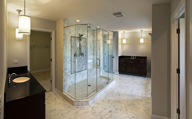 Glass Enclosed Shower In The Master Bathroom Of The Coventry Floor