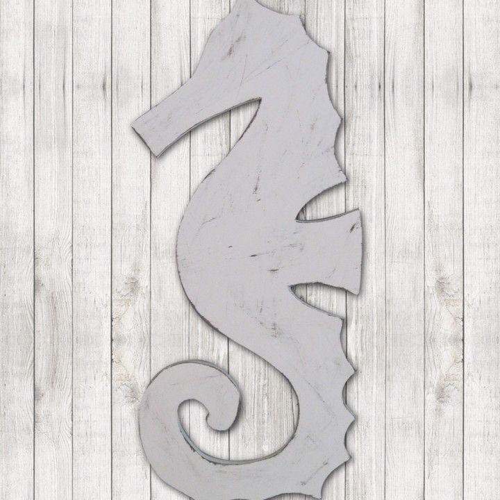 Wood Seahorse - The Project Cottage - This Big Distressed White Wood Seahorse adds a big punch of coastal cool to any room. $79