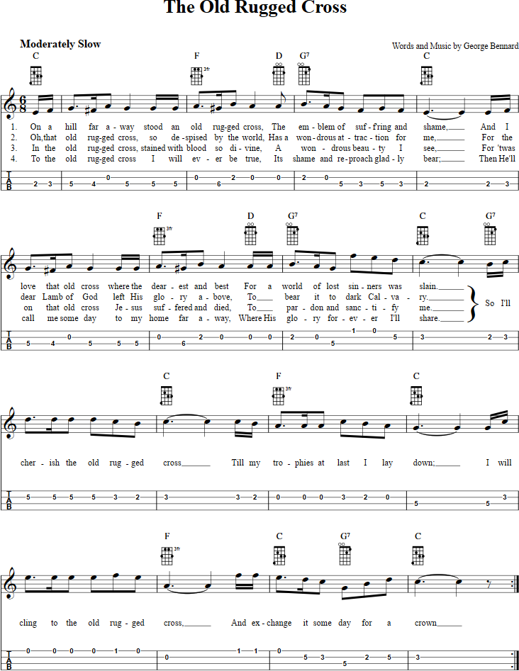B Flat 7 Guitar Chord the old rugged cross t...