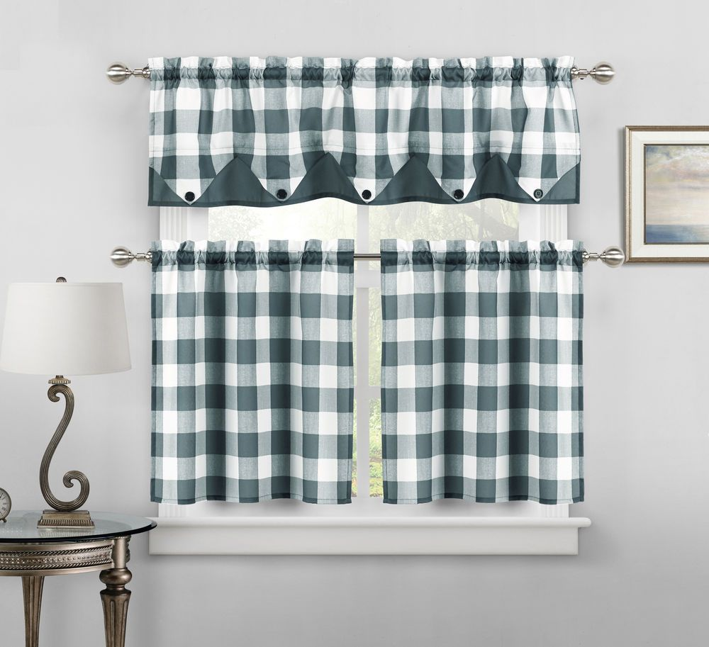 Button Check Faux Silk Kitchen Curtain Drape Tier & Valance Swag Set ...