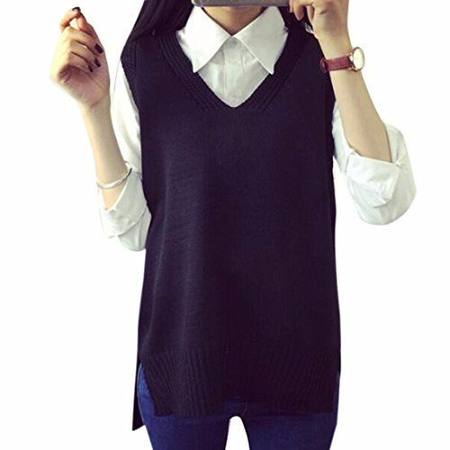 Womens Sweater Vests Women V Neck Sleeveless Knit Sweater Vest