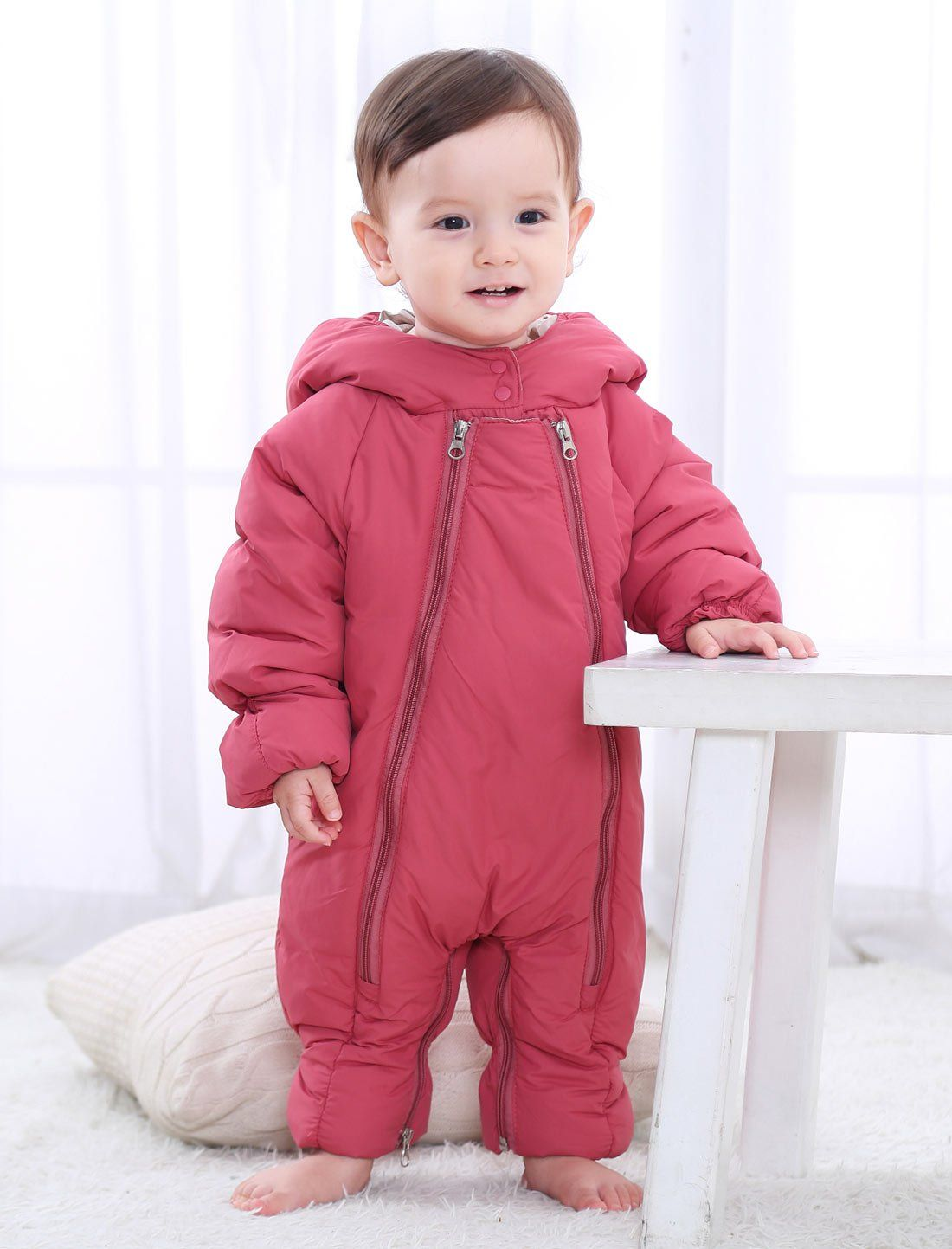 Newborn Baby Girls Boys All in One Snowsuit,Warm Rompers Winter Infant Bodysuits Outfit One Piece Down Coat
