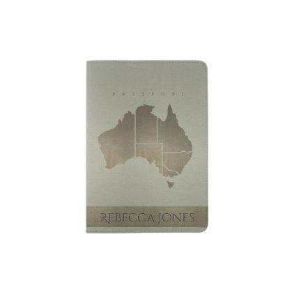 GREY ANTIQUE SILVER AUSTRALIA MAP LEATHER MONOGRAM PASSPORT HOLDER - gold glitter style stylish unique