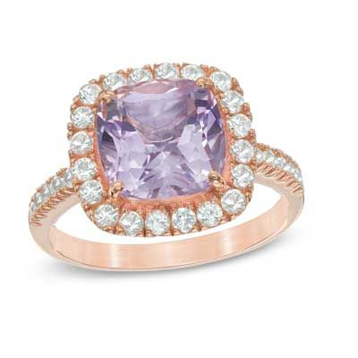 Rose de France Amethyst and Lab-Created White Sapphire Frame Ring in Sterling Silver with 14K Rose Gold Plate - Size 7 - Rings - Zales