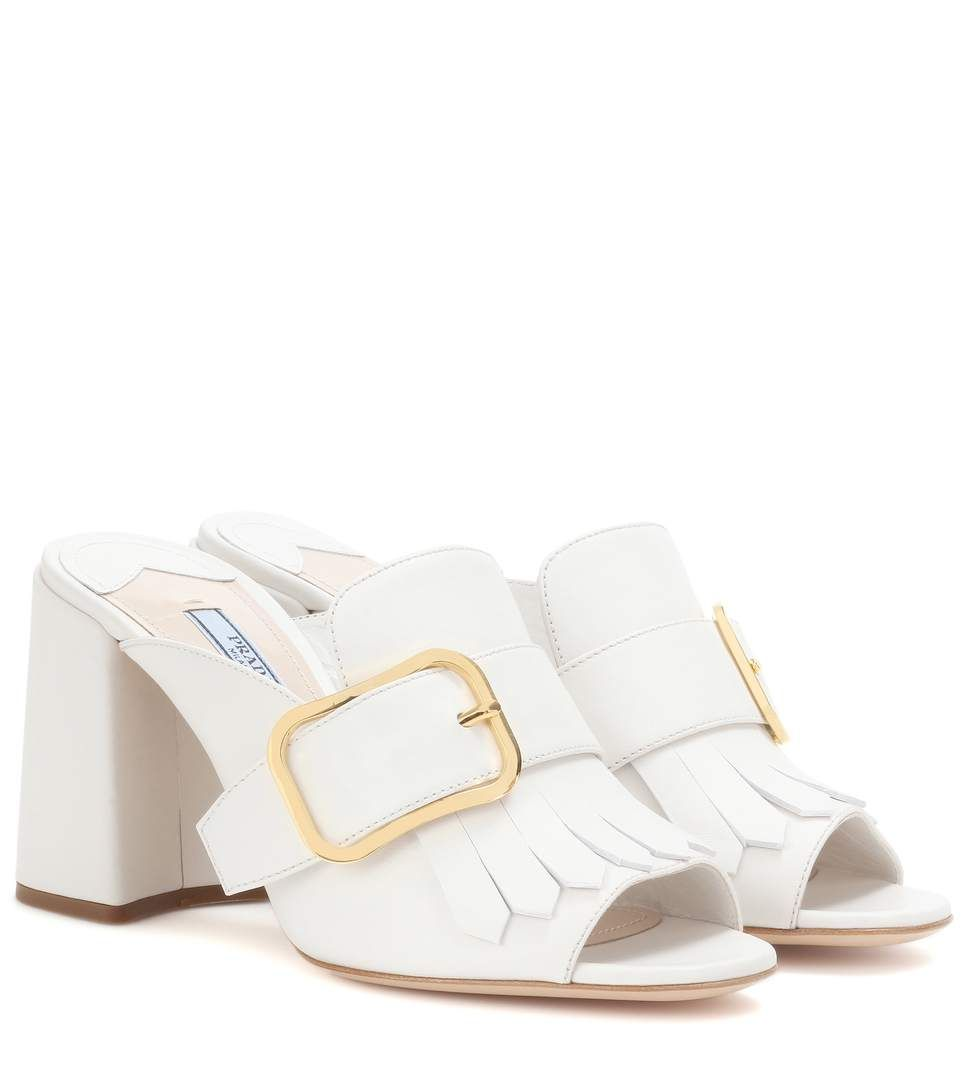 Sandales En Cuir Blanc Prada KEBNz
