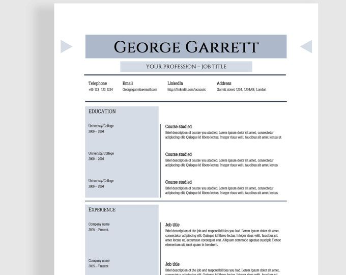 Outstanding And Strong Professional Resume Template Cv Template