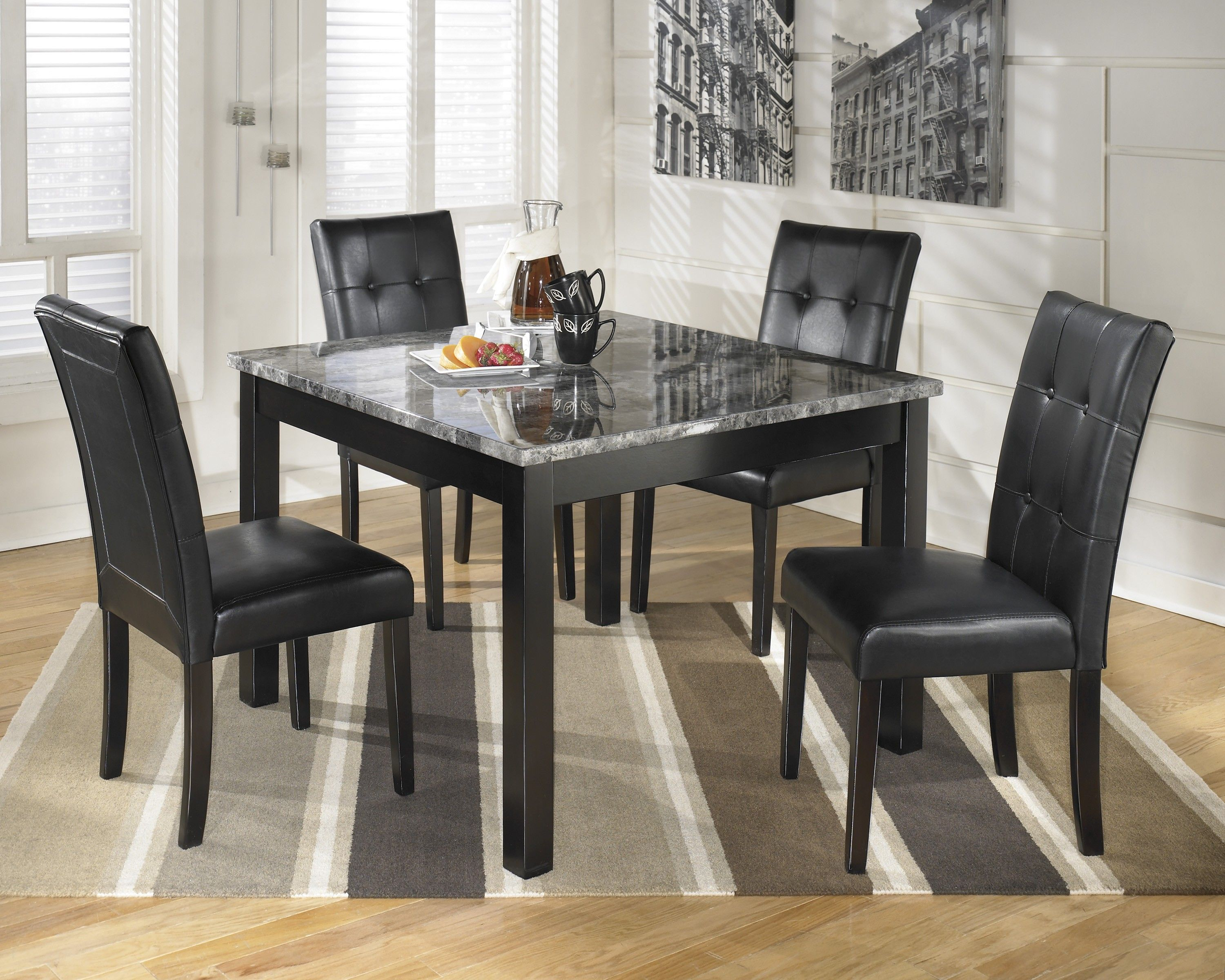 Maysville Black 5 Piece Square Dining Room Table Set Marble Top