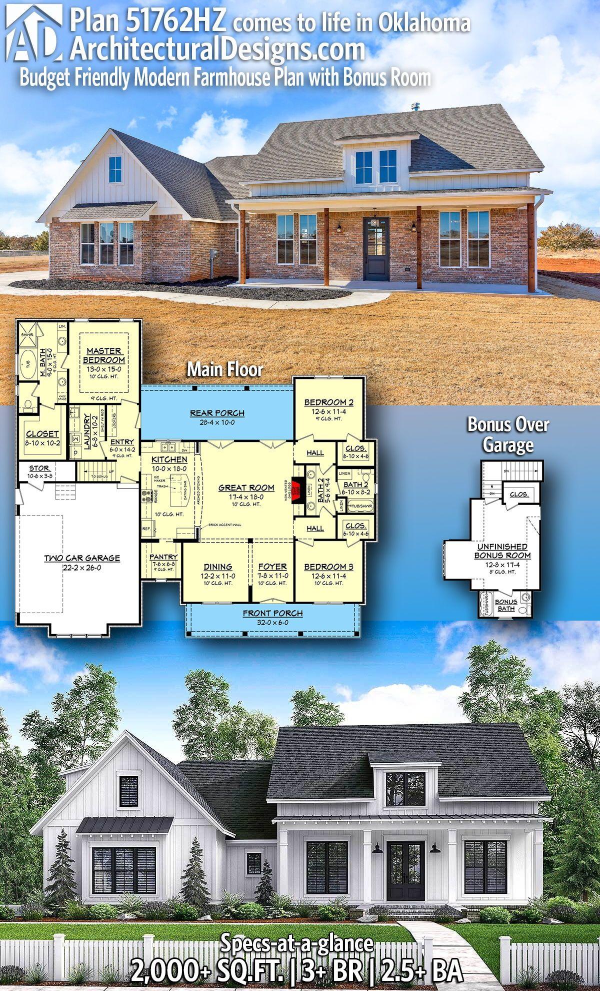 Plan 51762hz Budget Friendly Modern Farmhouse Plan With Bonus Room Farmhouse Plans Modern Farmhouse Plans House Plans