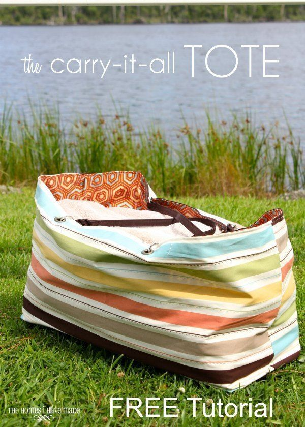 FREE extra large tote bag sewing pattern A step by step photo tutorial for how to sew this large beach bag The bag is reversible and has instructions for an optional wate...